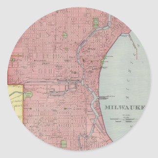Vintage Map of Milwaukee Wisconsin (1903) Classic Round Sticker