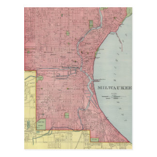 Vintage Map of Milwaukee Wisconsin (1903) Postcard