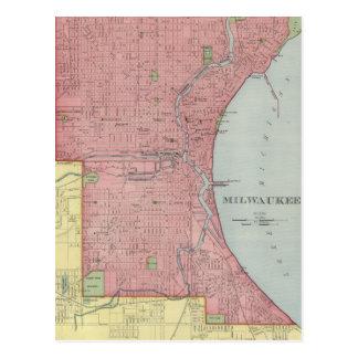 Vintage Map of Milwaukee Wisconsin (1903) Postcard