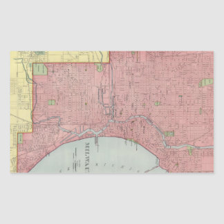 Vintage Map of Milwaukee Wisconsin (1903) Rectangular Sticker