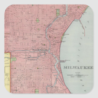 Vintage Map of Milwaukee Wisconsin (1903) Square Sticker
