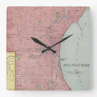 Vintage Map of Milwaukee Wisconsin (1903) Square Wall Clock