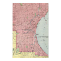 Vintage Map of Milwaukee Wisconsin (1903) Stationery