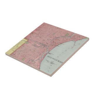 Vintage Map of Milwaukee Wisconsin (1903) Small Square Tile