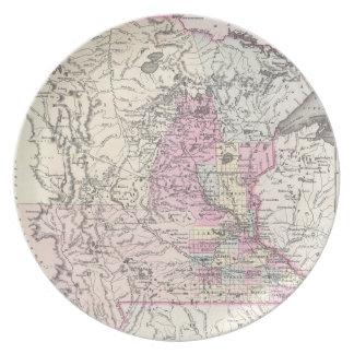 Vintage Map of Minnesota (1855) Dinner Plate