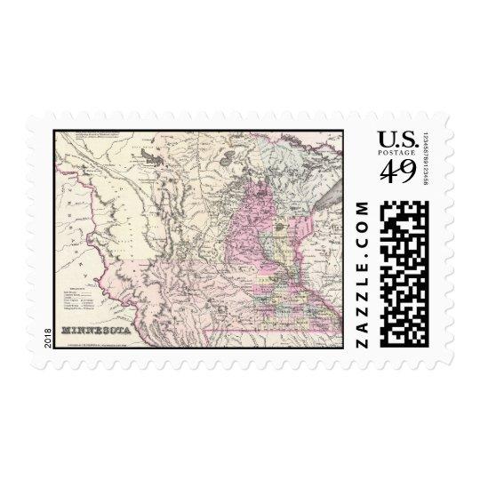 Vintage Map of Minnesota (1855) Postage