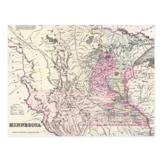 Vintage Map of Minnesota (1855) Postcard