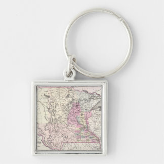 Vintage Map of Minnesota (1855) Silver-Colored Square Keychain
