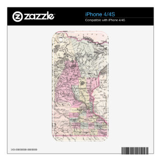 Vintage Map of Minnesota (1855) Skin For iPhone 4
