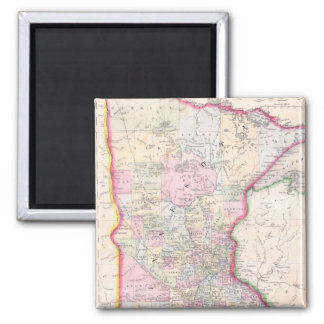 Vintage Map of Minnesota (1864) 2 Inch Square Magnet