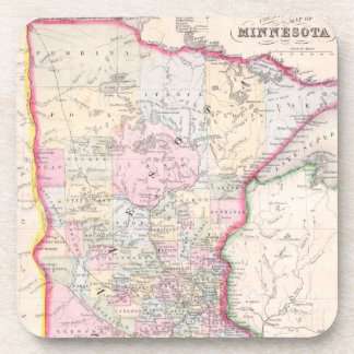 Vintage Map of Minnesota (1864) Beverage Coaster