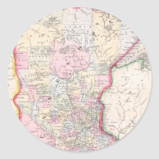 Vintage Map of Minnesota (1864) Classic Round Sticker