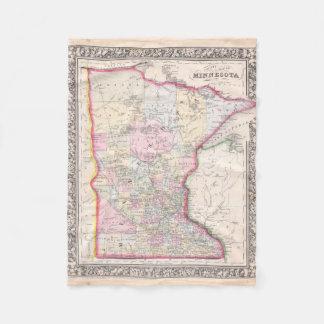 Vintage Map of Minnesota (1864) Fleece Blanket
