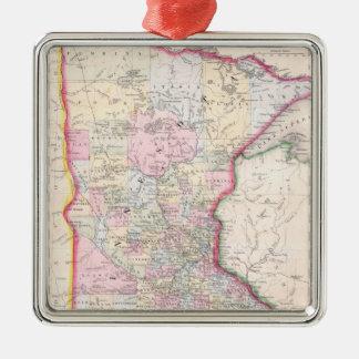 Vintage Map of Minnesota (1864) Metal Ornament