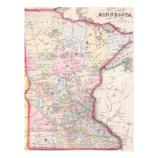 Vintage Map of Minnesota (1864) Post Cards
