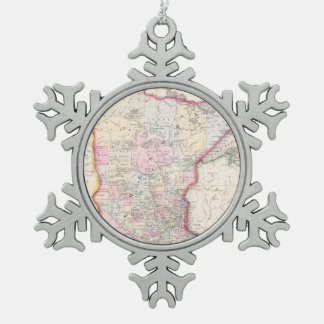 Vintage Map of Minnesota (1864) Snowflake Pewter Christmas Ornament