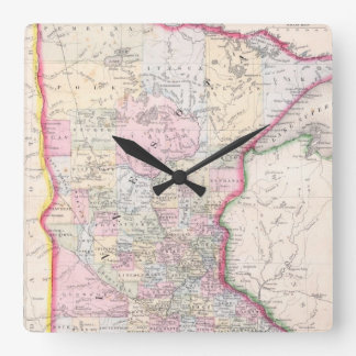Vintage Map of Minnesota (1864) Square Wall Clock