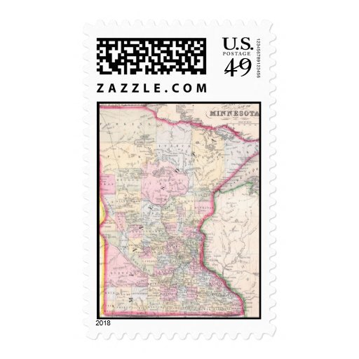 Vintage Map of Minnesota (1864) Stamps