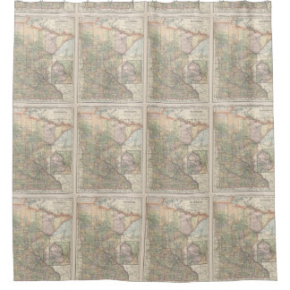 Vintage Map of Minnesota (1891) Shower Curtain