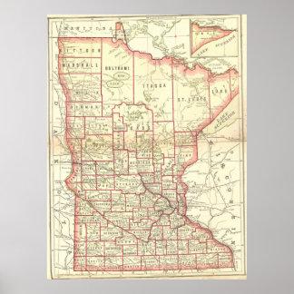 Vintage Map of Minnesota (1893) Poster