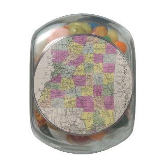 Vintage Map of Mississippi (1853) Glass Candy Jars