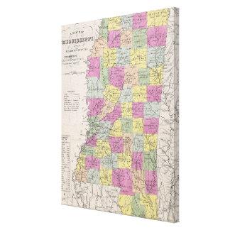 Vintage Map of Mississippi (1853) Canvas Print