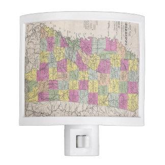 Vintage Map of Mississippi (1853) Night Lights
