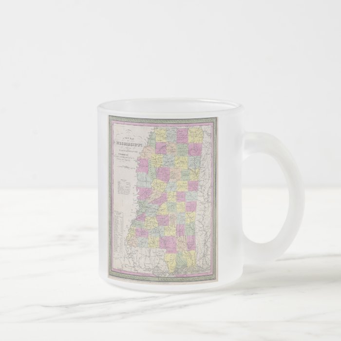 Vintage Map of Mississippi (1853) Frosted Glass Coffee Mug