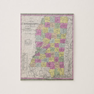 Vintage Map of Mississippi (1853) Jigsaw Puzzle
