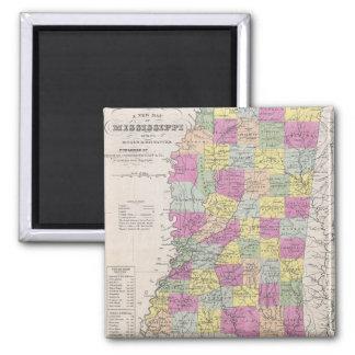 Vintage Map of Mississippi (1853) 2 Inch Square Magnet