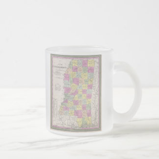 Vintage Map of Mississippi (1853) 10 Oz Frosted Glass Coffee Mug