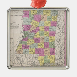 Vintage Map of Mississippi (1853) Square Metal Christmas Ornament