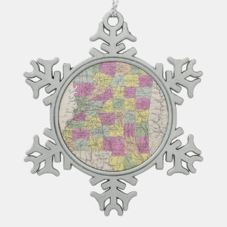 Vintage Map of Mississippi (1853) Snowflake Pewter Christmas Ornament