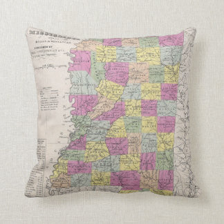Vintage Map of Mississippi (1853) Throw Pillows
