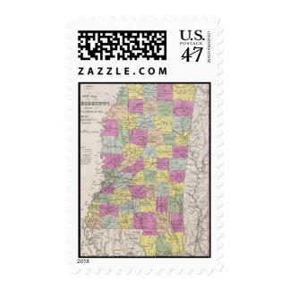 Vintage Map of Mississippi (1853) Postage
