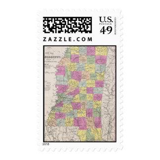 Vintage Map of Mississippi (1853) Stamps