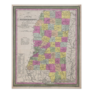 Mississippi Map Posters Zazzle - Mississippi map