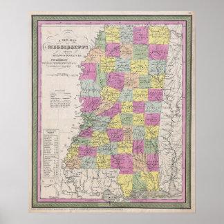 Vintage Map of Mississippi (1853) Poster