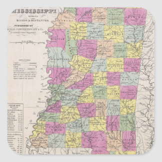 Vintage Map of Mississippi (1853) Square Sticker