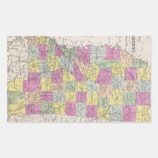 Vintage Map of Mississippi (1853) Rectangular Sticker