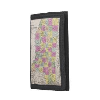 Vintage Map of Mississippi (1853) Tri-fold Wallets