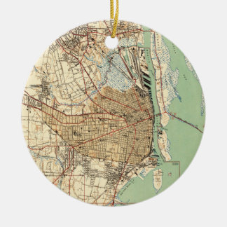 Vintage Map of Mobile Alabama (1940) 2 Ceramic Ornament