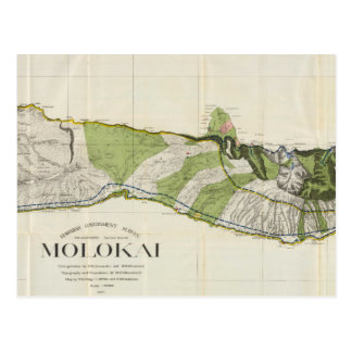 Vintage Map of Molokai Hawaii (1906) Postcard