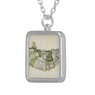 Vintage Map of Molokai Hawaii (1906) Square Pendant Necklace