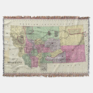 Vintage Map of Montana (1890) Throw Blanket