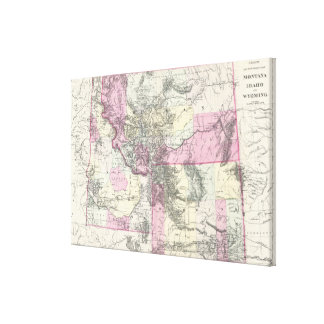 Vintage Map of Montana, Wyoming and Idaho (1884) Canvas Print