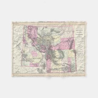 Vintage Map of Montana, Wyoming and Idaho (1884) Fleece Blanket