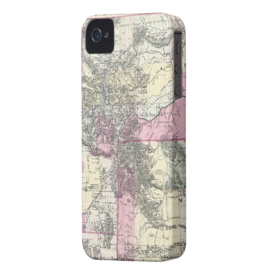 Vintage Map of Montana, Wyoming and Idaho (1884) iPhone 4 Case-Mate Case