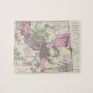Vintage Map of Montana, Wyoming and Idaho (1884) Jigsaw Puzzle