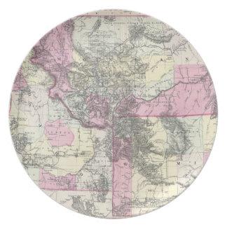 Vintage Map of Montana, Wyoming and Idaho (1884) Melamine Plate